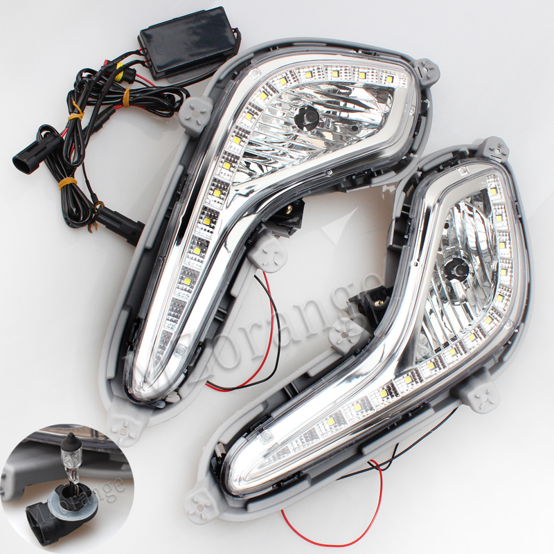 Car External Light <font><b>headlights</b></font> For <font><b>Hyundai</b></font> <font><b>Accent</b></font> Solaris Verna 2010-2013 Daytime Running Light Fogs For Solaris Signal DRL Xenon image