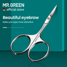 MR.GREEN Eyebrow Scissors Curved Blade Professional Stainless Steel Manicure Precision Trimmer Eyebrow Eyelash Hair Remover Tool