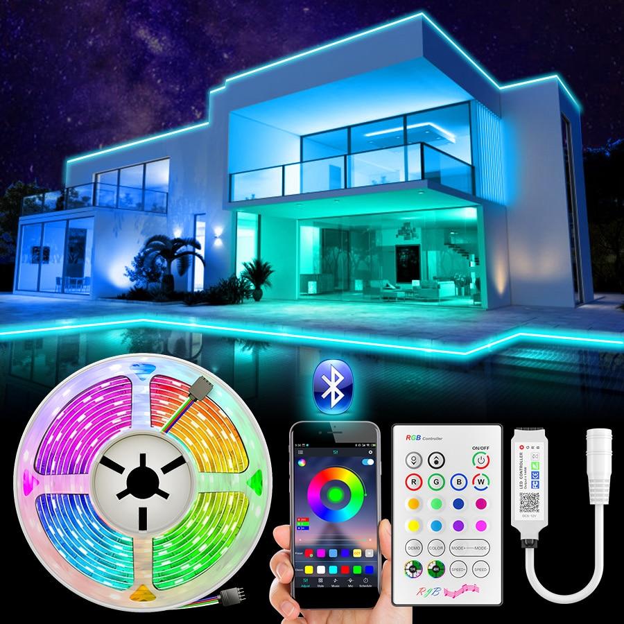 RiRi won SMD 5050 RGB Светодиодная лента 2835 10 м 5 м Светодиодная лампа s rgb Светодиодная лента Диодная лента Гибкая Bluetooth управление адаптер постоянног...