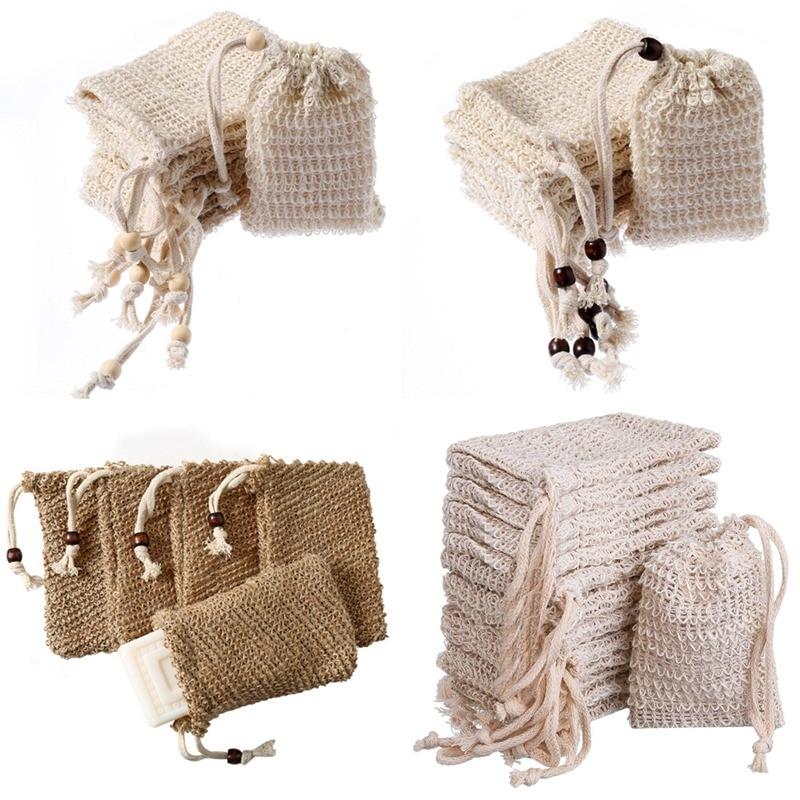10 шт./лот Натуральный сизаль мешок для мыла Отшелушивающий держатель для мыла