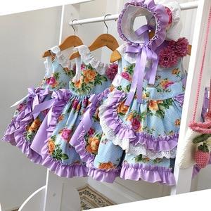 2020 весеннее испанское платье принцессы для девочек; платье с цветочным принтом в стиле Лолиты; Детские платья для девочек; милое празднично...