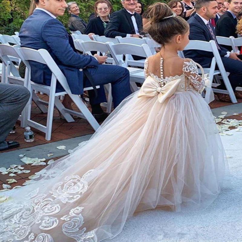 Dress Ball-Gown Communion-Dresses Tulle Lace Flower-Girl Long-Sleeve Wedding Birthday