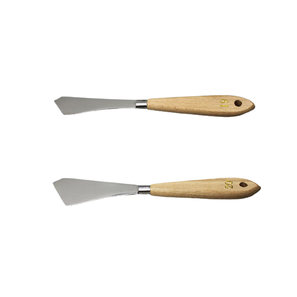 2pcs Painting Knife Wooden Handle Stainless Steel Metal Palette Knife For Oil Painting Knife Fine Professional Art Tools