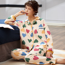 Winter Autumn soft pajama sets women cotton sleepwear long s