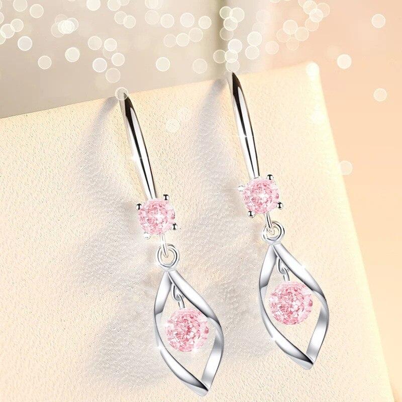 New Arrive Romantic Bright Cubic Zircon Dangle-Earring Stainless Metal Noble Zirconia Women Earring Brincos Bijoux Jewelry Gift