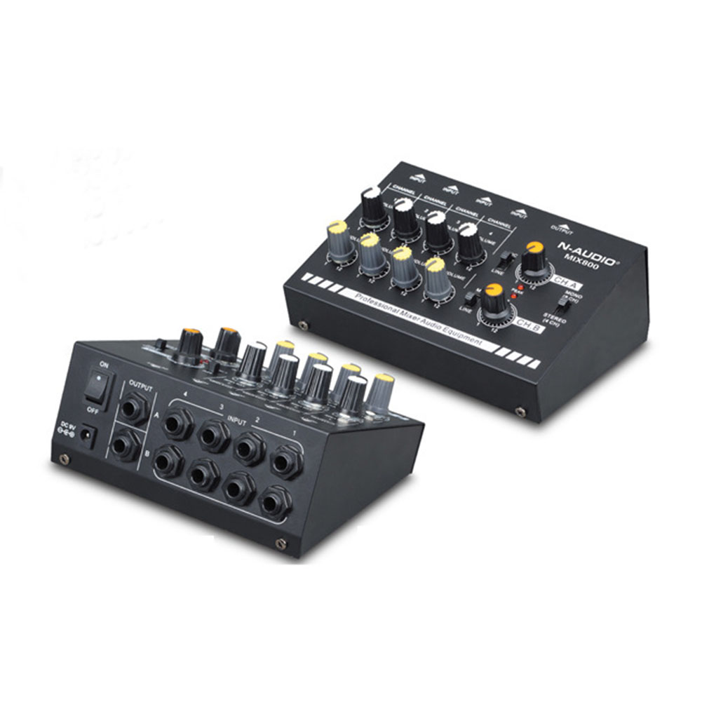 Audio mikser dźwięku mikser audio kompaktowe 8-kanał Mono / Stereo Audio Line mikser z zasilacz ue
