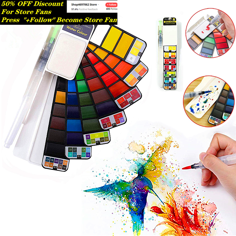 Superior Solid Watercolor Paint Set 18/25/33/42 Colors Foldable Travel Painting Pigment With Water Brush Pen Students Supplies