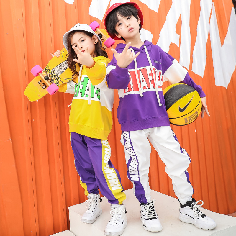 Girls Boys Hip Hop Clothes Dance Costumes For Kids Dancewear Party Stage Outfits Child Jazz Ballroom Dancing Hoodie Coat Pant LJ