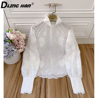LINGHAN Fashion Hollow Out Embroidery Blouse Elegant Floral Lantern Sleeve Stand Shirt Tops Designer 2020 spring New