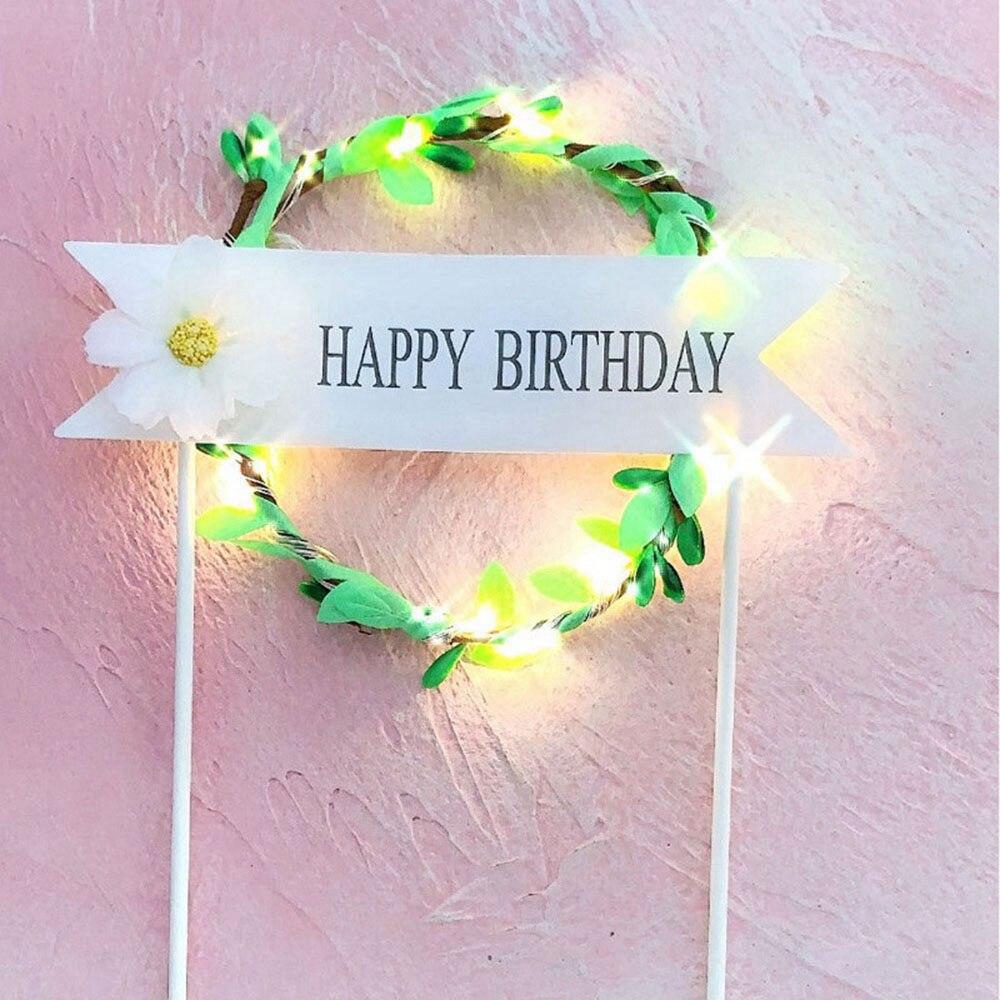 1 шт. цветочный венок торт Топпер светодиодный светящийся День рождения украшение душевой кабины для малышей DIY выпечки Торт Топ флаги вставки поставки - Цвет: Green