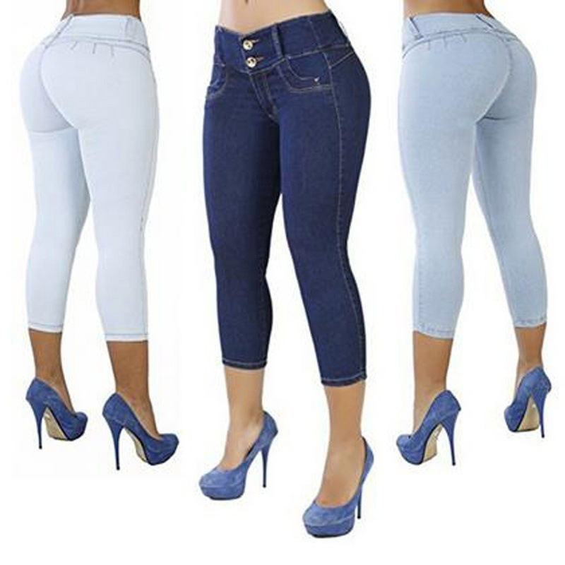 LIBERJOG Women Jeans Package Buttocks Push Up Hip Denim Pants Slim title=