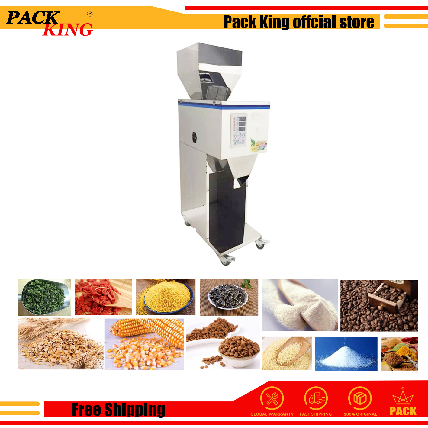 1000g Doser Rice Powder Corn Grain Weighing And Filling Machine Tea Leaf Medicine Seed Salt Packing Bean