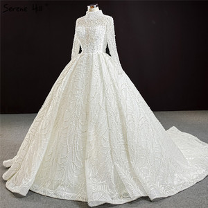 Image 3 - Luxury Ivory High Neck Sexy Plus Size Wedding Dresses 2020 Long Sleeves Beading Pearls Bridal Gowns BHM67129 Couture Dress