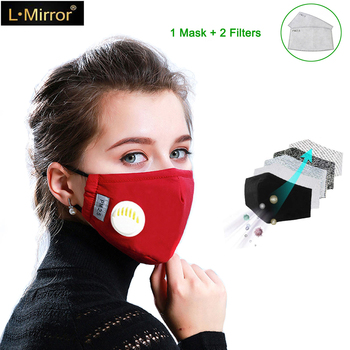 L.Mirror Unisex Respirator Mask With Breathing Valve Washable Cotton Activated Carbon Filter PM2.5 Mouth Masks and Child Masks