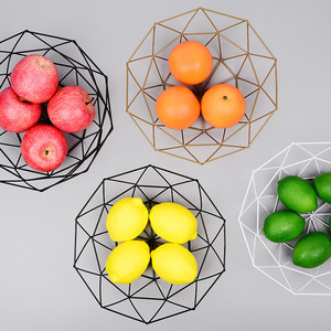 Nordic Geometric Polygon Fruit And Vegetable Metal Wire Basket Metal Bowl Kitchen Storage Desktop Display Fruit Plate(China)