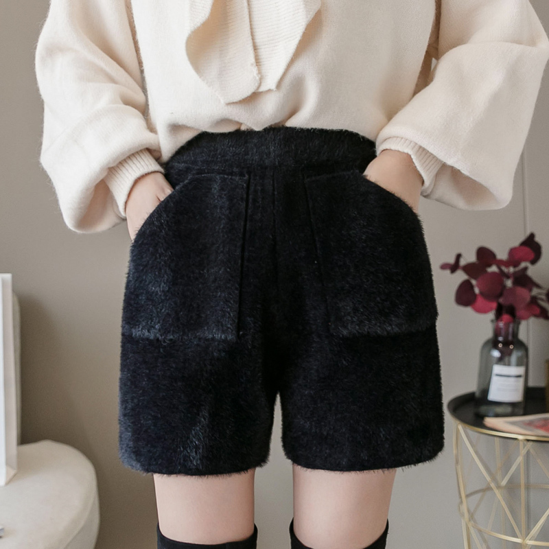 2020 Autumn New Fashion Clothes Women High Waist Mink Fur Loose Feminina Warm Short Trousers Pants 1