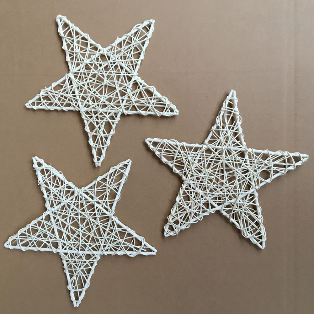 Christmas Natural Rattan Vine DIY Star Wreath Garland Party Christmas Tree Window Decor Ornament Home Wedding