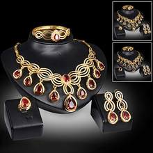 Noble Cubic Zirconia Earrings Necklace Bib Statement Ring Bracelet Jewelry Set(China)