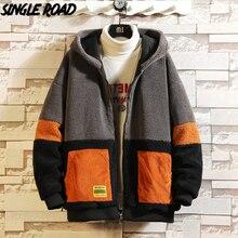 Coat Hooded-Jacket Windbreaker Patchwork Harajuku Japanese-Streetwear Fleece Winter Mens