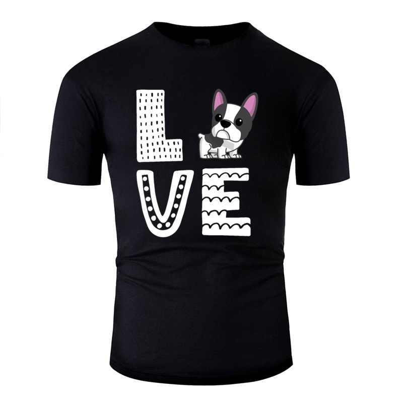 Tasarım fransız Bulldog aşk Frenchie sevgilisi hediye köpek sahibi Tshirt erkekler mektup erkek tişörtleri 2019 kısa kollu