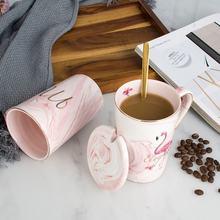 Flamingo mr mrs caneca de café cerâmica mármore padrão casal copo e caneca amantes presente casamento escritório em casa drinkware navio da gota