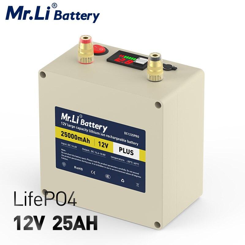 Bateria recarregável do armazenamento da energia de mr. li lifepo4 12 v 25a bateria 12.8 v para a fonte de alimentação alternativa apropriada para o sistema solar