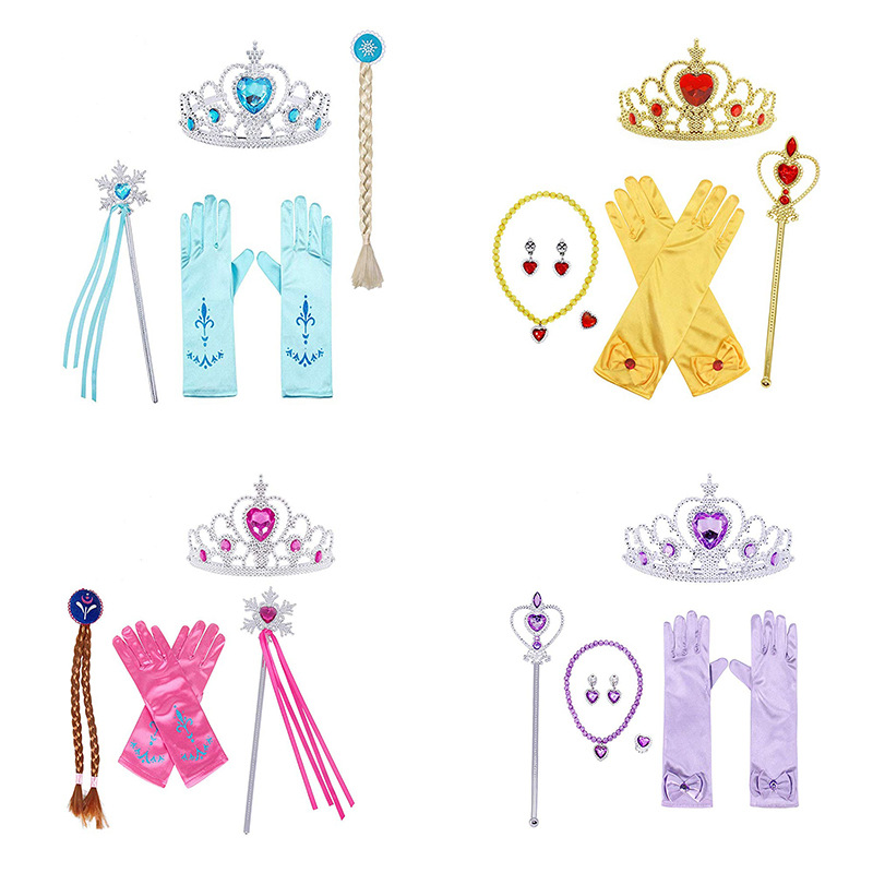 Girl Kids Princess Elsa Anna Belle Aurora Rapunzel Cinderella Sleeping Beauty Dress Up Accessories Crown Wig Magic Wand Glove