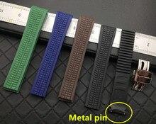 21mm yumuşak silikon kauçuk kordonlu Patek kayış Aquanaut Philippe serisi 5164a 5167a saat kayışı kemer yeşil metal pin