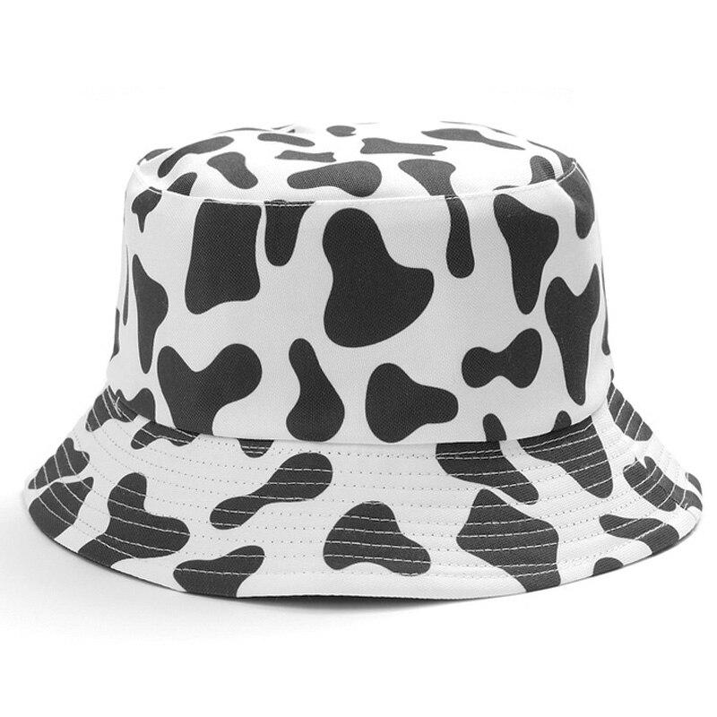 INS Cute Reversible Black White Cow Print Pattern Bucket Hats  Men Women Summer Fishing Hat Two Side Fisherman Cap Travel Panama