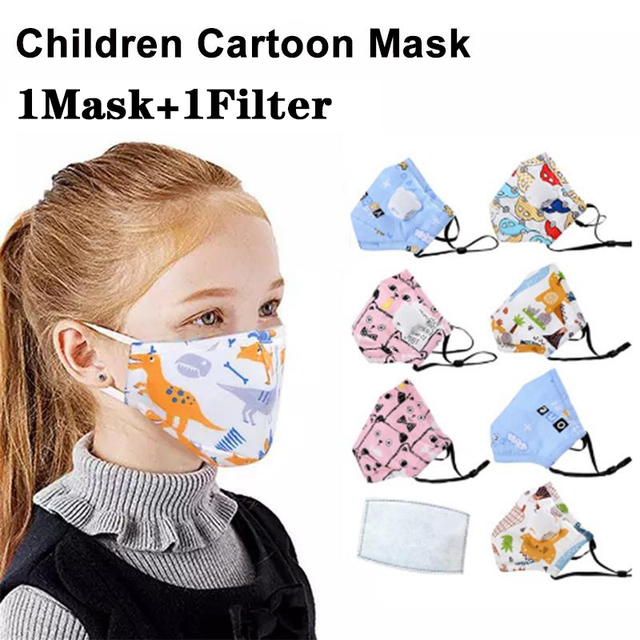1Pcs Children Face Mask Kid Cotton Mouth Mask Children Masks Cartoon Respirator Mask With 1pcs Activated Carbon Filter IN STOCK 1