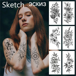 Flowers Temporary Tattoos Waterproof Sexy Women Arm Tattoos Sticker Fake Realistic Sketch Bloosom Peony Body Leg Art Tatoo Cute
