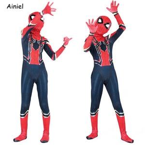 Image 2 - Ainiel Iron Spider Cosplay Costume Homecoming Zentai Superhero Bodysuit Jumpsuit Spandex Suit Mask Halloween Party Kids Boy Man