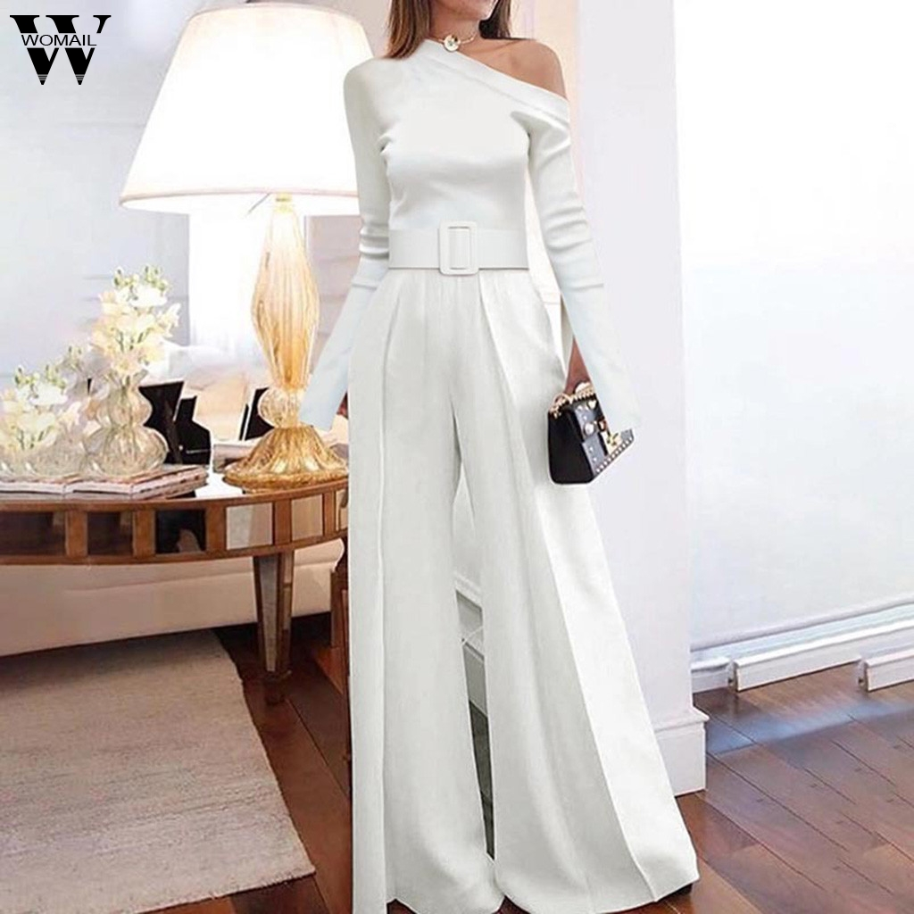 Womail Women Jumpsuit Elegant one shoulder   Rompers   white Overall Long Sleeve office Wide Leg Long Jumpsuit Bodycon Evening party
