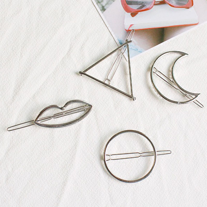 Fashion Alloy Hair Clips for Woman Girls Geometric Metal Hairband Moon Triangle Circle Hairgrip Barrettes Hair Accessories