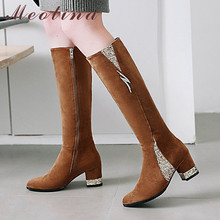 Meotina Women Boots Winter Knee High Zipper Chunky Heel Tall Glitter Pointed Toe Shoes Female Fall Big Size 43