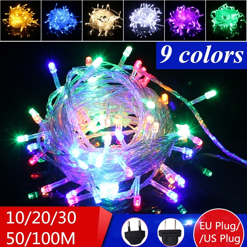 100-800 Led Light String Christmas Decorative Fairy Lights Wedding Decorative Christmas Tree String Lights EU/US Plug 9 Colors