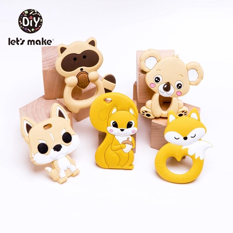 Lets Make Silicone Teether 5pcs Rodent BPA Free Fox Dinosaur Cartoon Animal Shape Baby Teething Toys Tiny Rod