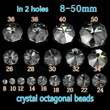 AAA Crystal Octagonal Beads In 2 Holes Crystal Chandelier Parts Garland Strands Home Wedding Suncatcher  Decoration Glass Beads free shipping top quality customized crystal glass beads garland strands diy crystal curtain for home decoration 22 1 2m lot