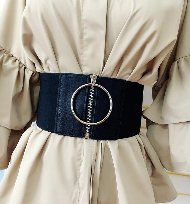 Women's Runway Fashion PU Leather Elastic Cummerbunds Female Dress Coat Corsets Waistband Belts Decoration Wide Belt R1746