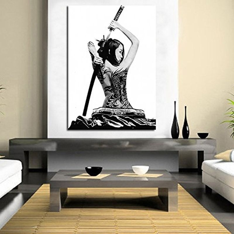 No Frame Modern Samurai Girl Japanese Art Canvas Print Painting Bushido Poster Wall Decor
