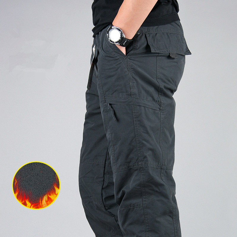 Image 2 - Men's Cargo Pants Winter Thicken Fleece Cargo Pants Men Casual Cotton Military Tactical Baggy Pants Warm Trousers Plus size 3XL-in Cargo Pants from Men's Clothing