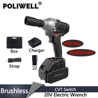 POLIWELL 1/2 Inch CVT Electric Wrench Brushless Impact Wrench Car Socket Wrench 20V 3000bpm Li Battery Hand Drill Power Tools|Electric Wrenches| |  -