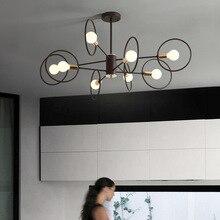 Postmodern black LED chandelier ceiling Nordic Iron illumination bedroom suspended lamps home deco living room hanging lights