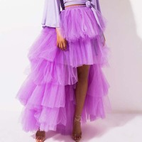 Dramatic Layered Tulle Maxi Skirt for Women Lavender High Low Evening Party Skirts Adult Tutu Floor Length Puffy Tulle Skirt