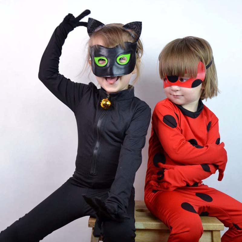 Cosplay Girl LadyBug Costume Wig Black Cat Noel Jumpsuit Kid Halloween Costume Party Marinette Small Beetle Set