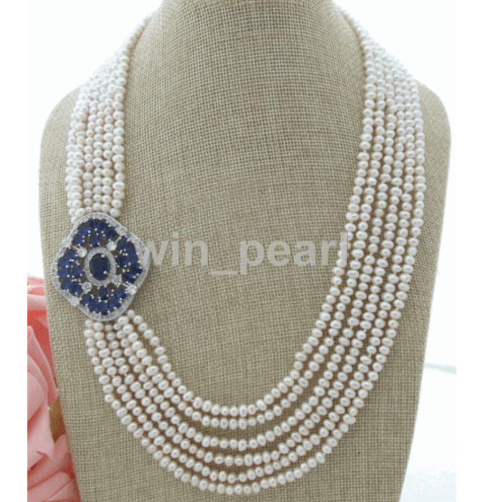 6 Strands 4-5mm White cultured Freshwater Pearl Necklace CZ Pendant 21