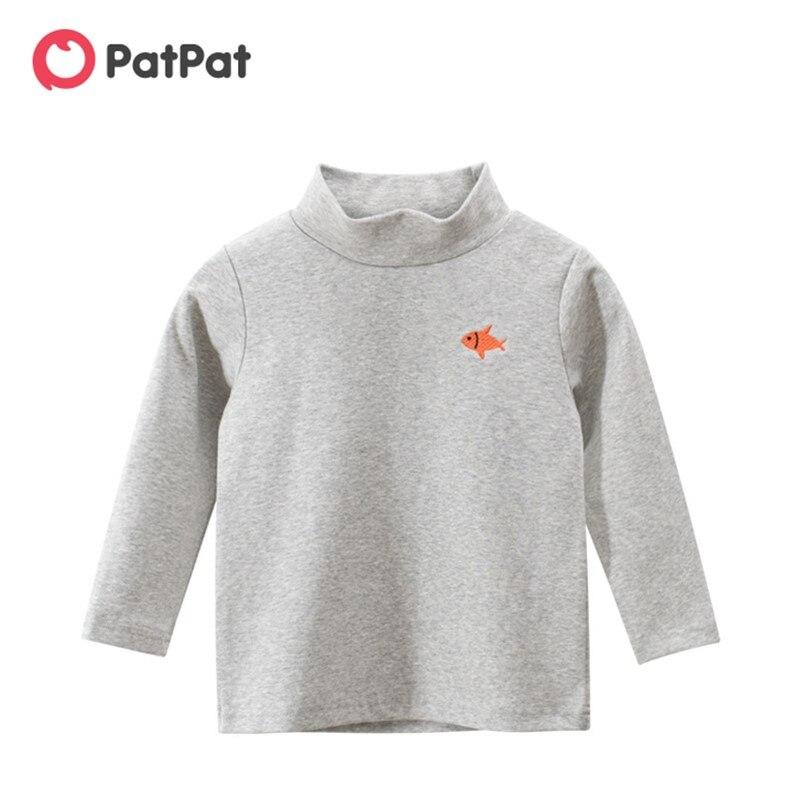 PatPat/Новинка 2020 года; Сезон осень зима; Повседневная Однотонная футболка с длинными рукавами и вышивкой для малышей; Детская одежда|Тройники| | АлиЭкспресс