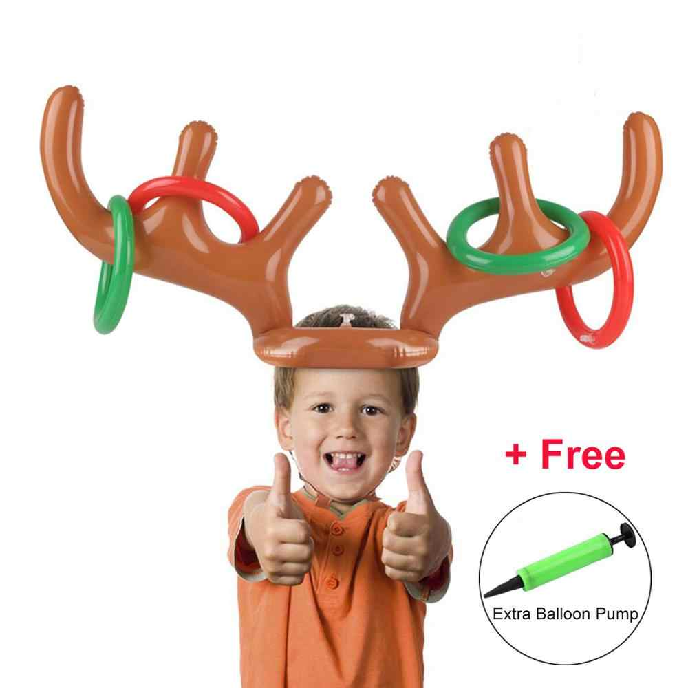 Rooxin Party Toss Game Inflatable Reindeer Antler Hat with Rings Throwing Circle Toys Fun Santa Game Xmas Christmas Home Deco