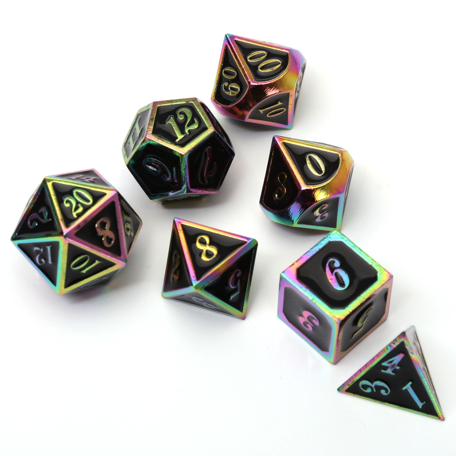 Chengshuo Rainbow Dnd Dice Metal Rpg Set Polyhedral Dungeons And Dragon Black Zinc Alloy Green Digital D&d Dices Table Games D20