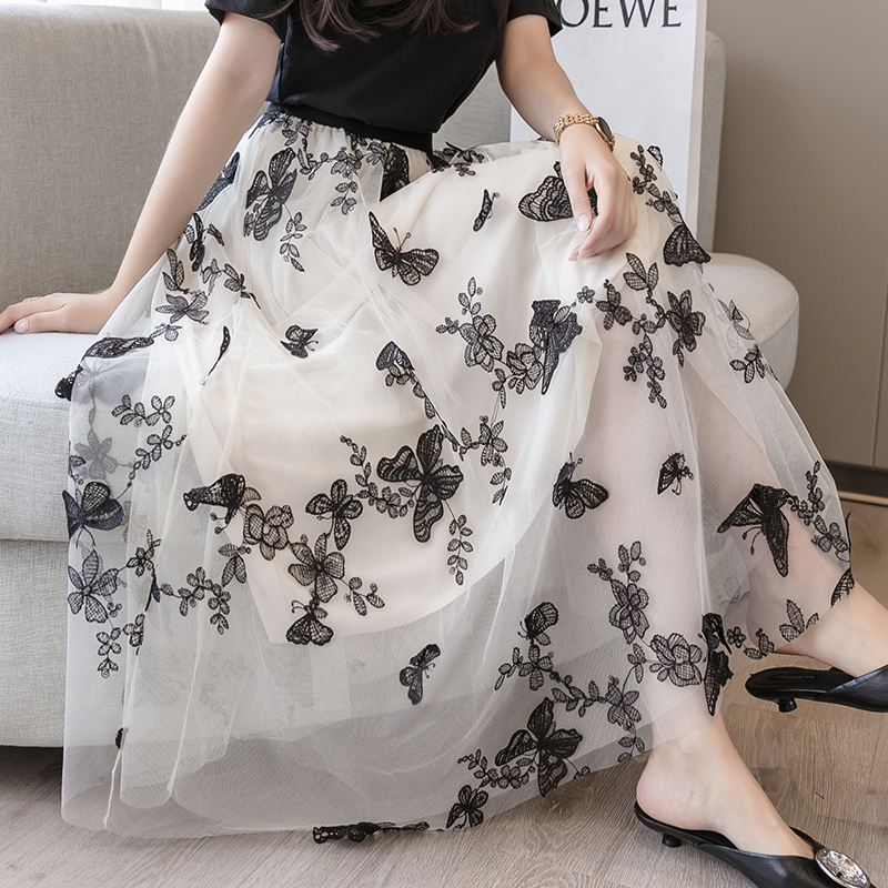 Banulin Maxi <font><b>Tulle</b></font> <font><b>Skirt</b></font> Women For 2020 Spring Summer Korean Ladies Pink <font><b>Black</b></font> Floral Embroidery High Waist <font><b>Long</b></font> <font><b>Skirt</b></font> Female image
